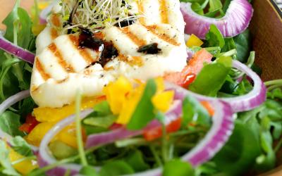 Grillezett halloumi sajt körtés salátával
